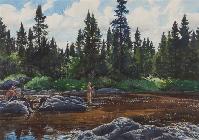 Fishing a rocky river by aiden lassell ripley on artnet for Rocky river fishing