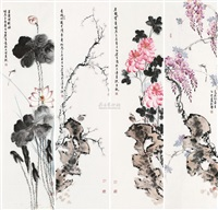 花鸟 (in 4 parts) by bai guang
