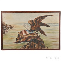 patriotic landscape with an eagle and union shield perched on a rocky shore by american school (20)