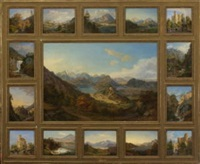 blick auf schloss hohenschwangau mit alp- und schwansee (+ 14 others, 15 works framed together) by heinrich adam