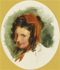head study of a girl, possibly lady louisa russell (1812-1905) by sir edwin henry landseer
