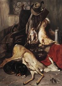 jagdliches stilleben mit erlegtem rehbock, hasen und rebhühnern in interieur mit lehnstuhl, schlafendem dackel und zinnkrug by max correggio