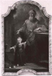 portrait eines bartigen mannes und eines mädchens by johann martin zick