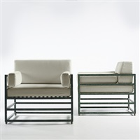 pair of lounge chairs by hugh newell jacobsen