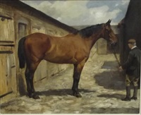 horse in a stableyard by winifred marie louise austen