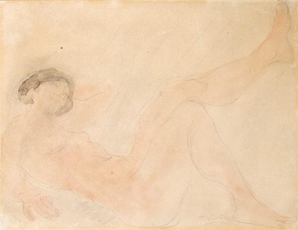 femme nue allongée (+ skizze zu einem liegenden rückenakt, verso) by auguste rodin