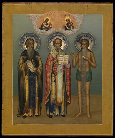 a fine icon of saints nicholas the miracle worker ioannikiy and onufriy the great with silver and enamel haloes