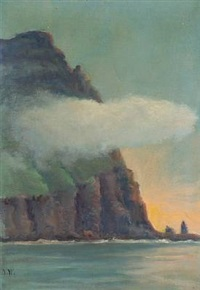 coastal scene with low cloud by joen waagstein