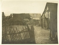 a group of decrepit wood shacks (+ a field of corn with a heap of old farm equipment and logs in the foreground; 2 works) by cornelius m. battey