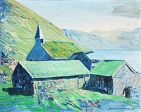 faroese village with church by joannis kristiansen
