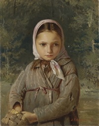 portrait of a young girl in a headscarf by alekseï ivanovich korzukhin