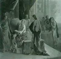 jakob segnet ephraim und manasse (1.moses 48). hiob im   elend (hiob 2, 8-13). by johann peter von langer