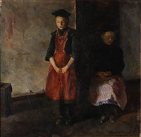 motif with two girls by sigurd swane