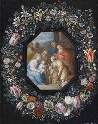 blumenkranz um ein medaillon mit einer anbetung des kindes by frans francken the younger and philippe de marlier