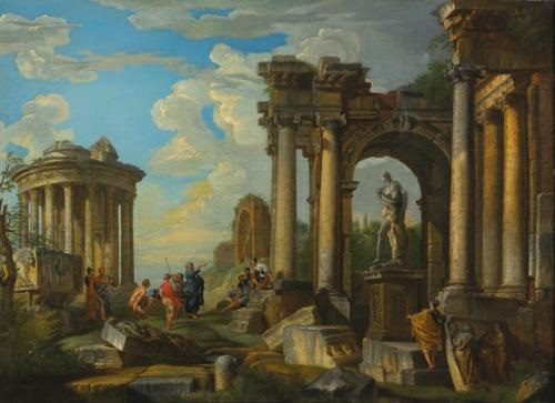 roman ruins with classical figures by giovanni paolo panini