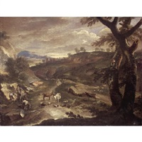 an italianate landscape with drovers and their animals beside a road by johann anton eismann