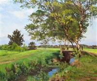 moorgraben mit birken by wilhelm bartsch