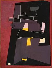 violet-sort-gul komposition (violet-black-yellow composition) by knud nielsen