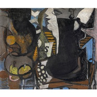 femme à table / huîtres et citron (recto/verso) by georges braque