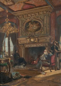 famille au coin du feu dans un intérieur by edme-emile laborne