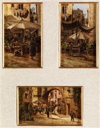 gemüsestand unter einem sonnenschirm vor häusern mit aufgehängter wäsche (+ 2 others; 3 works) by fernando del basso