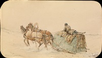 horses drawing a sleigh by petr fedorovich sokolov