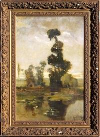 le grand arbre près de la mare by paul louis martin des amoignes