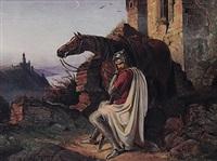 ein ritter rastet neben seinem pferd auf erhöhter stelle am rhein neben ruine by wilhelm camphausen