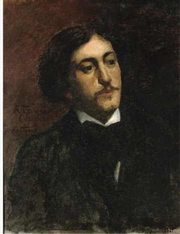 portrait of a gentleman bust length in a black coat with white shirt by bernard joseph artigue