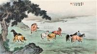 八骏山水 (horses) by jia wanxin