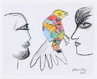 one of a kind drawing with a bird and two faces by corneille