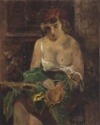 ung toplos kvinde med solsikker by erich rhein