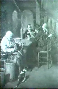 bauern beim kartenspiel in der stube by gottfried albert maria bachem