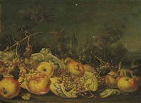 grapes, pomegranates, apples and a broken vase in a landscape by michelangelo di campidoglio