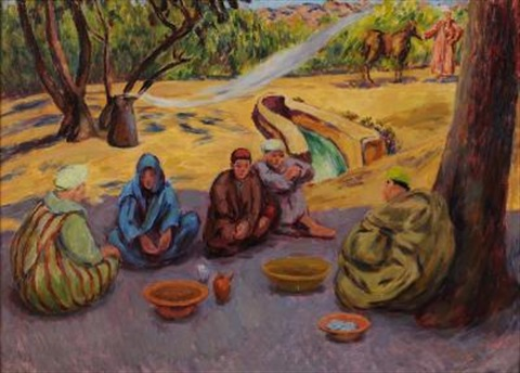 mealtime arabs by a roadside morocco by duncan grant