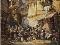 markttag in einem städtchen der normandie by auguste aristide fernand constantin