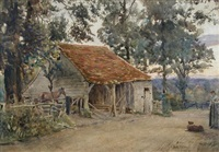 view of a farmyard with a chestnut pony and a sheepdog by joseph poole addey