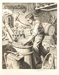 the cooper, the lace-maker, the violin maker, the basket maker, making the gate, and the chair maker (6 works) by stanley anderson