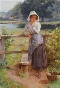 girl by a stile, before a pond and thatched cottages by william affleck