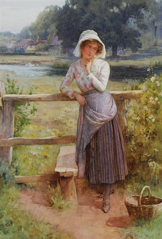 girl by a stile before a pond and thatched cottages by william affleck