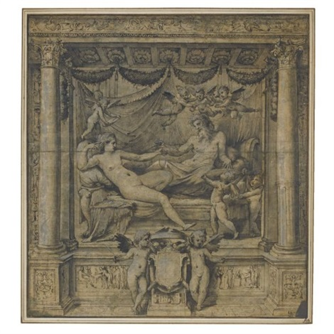 jupiter and juno reclining in an alcove attended by amorini two others holding a heraldic shield below by perino del vaga