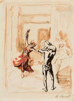 ali baba: der tanz der morgiane mit dem dolch (+ tamburinspieler, pen and ink (sketch), verso) by max slevogt