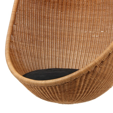 Hanging Egg Shaped Chair Of Woven Cane By Nanna Ditzel
