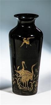 vase mit reiher by rudolf wels