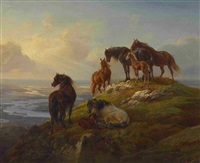 pferde auf der hochalm by benno raffael adam