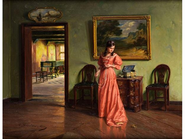 Junge Dame im Interieur beim Anlegen einer Perlenkette by Albert ...