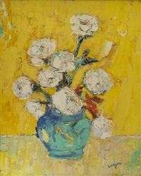 white roses against yellow by bernard lorjou