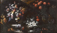 blumenstillleben mit lilien im vordergrund; blumenstillleben mit erdbeeren (pair) by margherita caffi