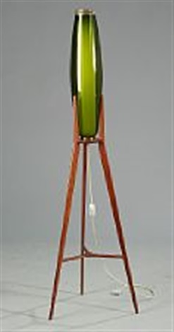 A Teak Tripod Floor Lamp, Opaline And Green Glass Shades By Svend Aage Holm  Sørensen