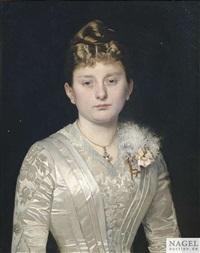 bildnis einer jungen dame in einem weißen seidenkleid als halbfigur by hermann clementz